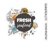fresh seafood concept design.... | Shutterstock .eps vector #1176569893