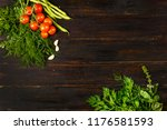 tomatoes  garlic   beans and... | Shutterstock . vector #1176581593
