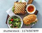 grilled sandwich  with chicken  ... | Shutterstock . vector #1176587899
