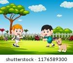 the children playing badminton... | Shutterstock . vector #1176589300