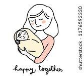 happy mom holding baby swaddled ... | Shutterstock .eps vector #1176592330