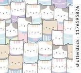 Stock vector cute adorable cat kitten pastel cartoon doodle seamless pattern background wallpaper vector eps 1176595876