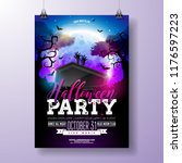 halloween party flyer vector... | Shutterstock .eps vector #1176597223