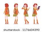 young woman standing. caucasian ... | Shutterstock .eps vector #1176604390