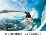 surfer on blue ocean wave in... | Shutterstock . vector #117660574