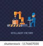 working man using a computer... | Shutterstock .eps vector #1176607030