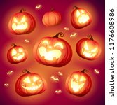 set pumpkins of halloween. a... | Shutterstock .eps vector #1176608986