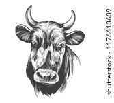cow   domestic animal  farm... | Shutterstock .eps vector #1176613639