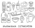 hand drawn dairy product icons. ... | Shutterstock .eps vector #1176614536