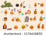 halloween funny pumpkin... | Shutterstock .eps vector #1176618850