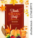 thanksgiving day party poster ... | Shutterstock .eps vector #1176618973