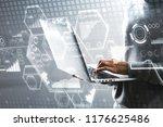 hacker using laptop with...   Shutterstock . vector #1176625486