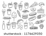 street food icons set. takeaway ... | Shutterstock .eps vector #1176629350