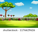 the beautiful yard with the...   Shutterstock . vector #1176629626