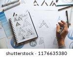 graphic designer drawing sketch ... | Shutterstock . vector #1176635380