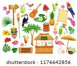 vector hawaiian beach party... | Shutterstock .eps vector #1176642856