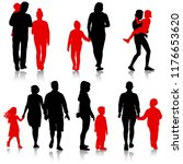 set silhouette of happy family... | Shutterstock . vector #1176653620