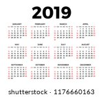 calendar for 2019 on white... | Shutterstock . vector #1176660163