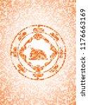 chicken dish icon inside orange ... | Shutterstock .eps vector #1176663169