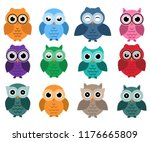 Stock vector owls set different owls with emotions 1176665809
