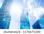 double exposure mixed media. 3d ... | Shutterstock . vector #1176671200