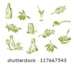 green olives and organic oil... | Shutterstock .eps vector #117667543