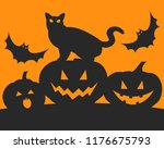 silhouette of black cat  three... | Shutterstock .eps vector #1176675793
