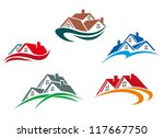 Stock vector real estate symbols roofs of houses and buildings such a logo idea jpeg version also available 117667750