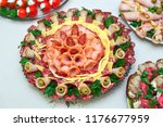 different meals for the guests... | Shutterstock . vector #1176677959
