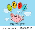 Happy New Year. Holiday card. The symbol of the new year 2019 is the Pig. Funny pig flies on balloons. The cartoon style. Vector