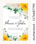 wedding floral  invitation ... | Shutterstock .eps vector #1176687790