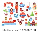 merry christmas icons  retro... | Shutterstock .eps vector #1176688180