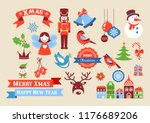 merry christmas icons  retro... | Shutterstock .eps vector #1176689206
