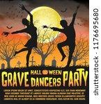 a halloween silhouette grave... | Shutterstock .eps vector #1176695680