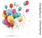 colored balloons with confetti... | Shutterstock .eps vector #1176698416