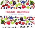berries poster. raspberries ... | Shutterstock .eps vector #1176715510
