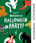 poster with funny halloween... | Shutterstock .eps vector #1176720109