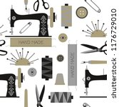 sewing tools kit | Shutterstock .eps vector #1176729010