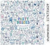 party drinks doodle set.... | Shutterstock .eps vector #1176731629