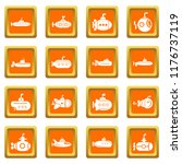 submarine icons set orange... | Shutterstock . vector #1176737119