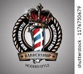 barbershop logo template | Shutterstock .eps vector #1176750679