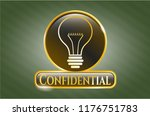 gold badge with idea icon and... | Shutterstock .eps vector #1176751783