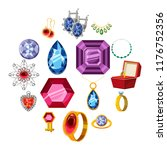 jewelry collection icons set.... | Shutterstock . vector #1176752356