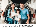 family are sitting in the trunk ... | Shutterstock . vector #1176758140