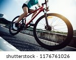 woman cyclist riding mountain... | Shutterstock . vector #1176761026