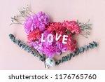 love wooden word on fresh... | Shutterstock . vector #1176765760