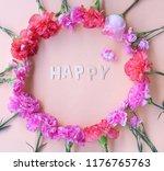 minimal flat lay happy... | Shutterstock . vector #1176765763