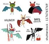 cartoon bat halloween costume... | Shutterstock .eps vector #1176765769
