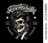 hand drawn rockabilly barbershop   Shutterstock .eps vector #1176768889