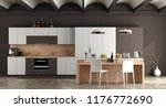 Stock photo white and brown contemporary kitchen with arched ceiling and cement floor d rendering 1176772690